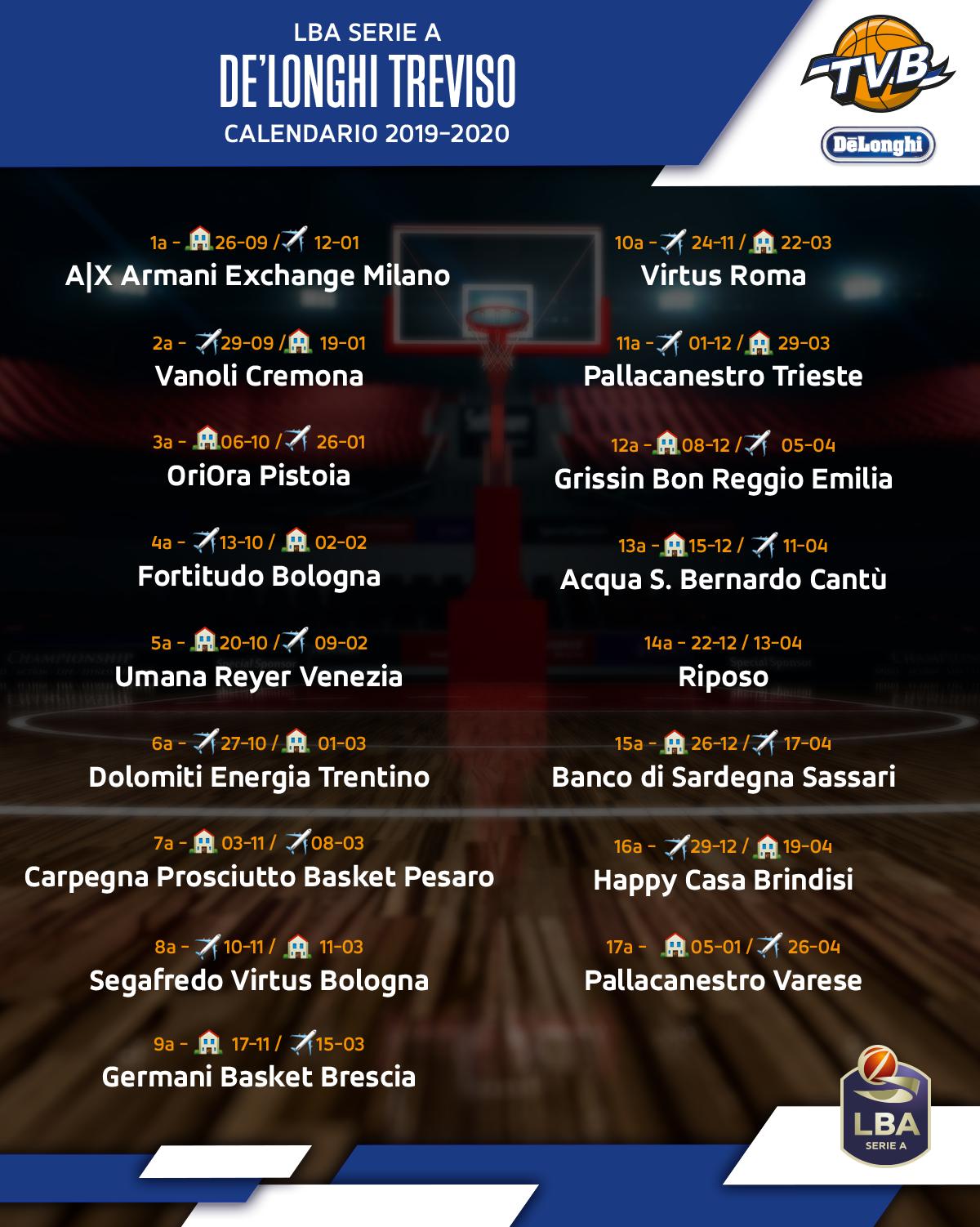 Treviso Basket Calendario.Calendario Treviso Basket